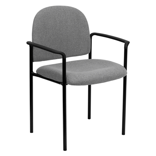 Gray Fabric Comfortable Stackable Steel Side Chair with Arms [BT-516-1-GY-GG]