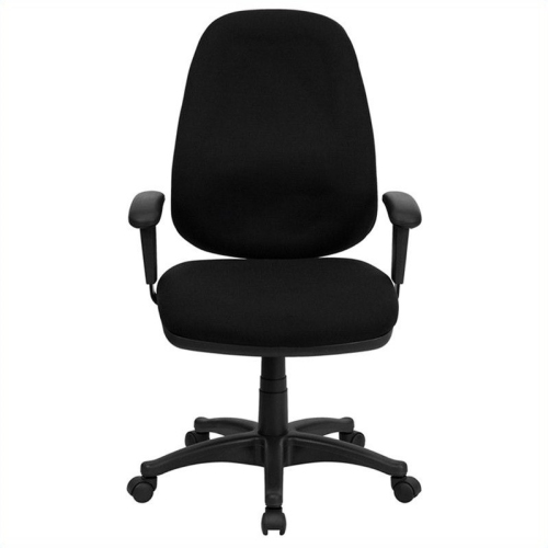 High Back Black Fabric Ergonomic Computer Chair with Height Adjustable Arms [BT-661-BK-GG]