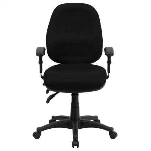 Mid-Back Multi-Functional Black Fabric Swivel Computer Chair [BT-662-BK-GG]