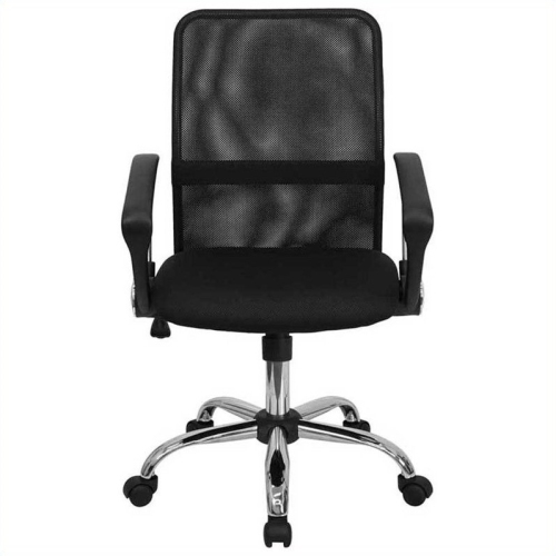 Mid-Back Black Mesh Computer Chair with Chrome Finished Base [GO-6057-GG]