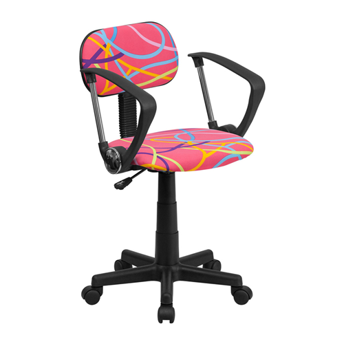 Multi-Colored Swirl Printed Pink Computer Chair with Arms [BT-OLY-A-GG]