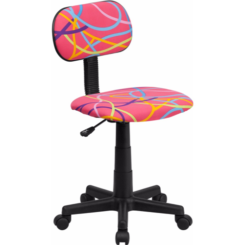 Multi-Colored Swirl Printed Pink Computer Chair [BT-OLY-GG]