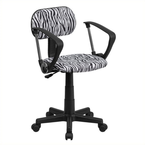 Black and White Zebra Print Computer Chair with Arms [BT-Z-BK-A-GG]
