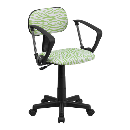 Green and White Zebra Print Computer Chair with Arms [BT-Z-GN-A-GG]