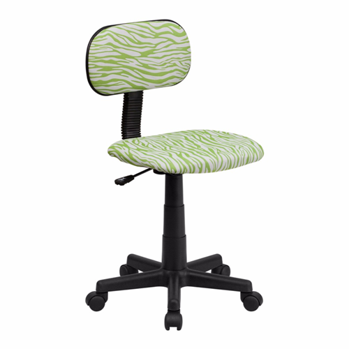 Green and White Zebra Print Computer Chair [BT-Z-GN-GG]