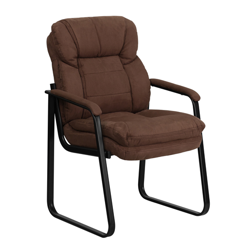 Brown Microfiber Executive Side Chair with Sled Base [GO-1156-BN-GG]