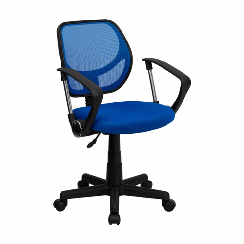 Mid-Back Blue Mesh Task Chair and Computer Chair with Arms [WA-3074-BL-A-GG]