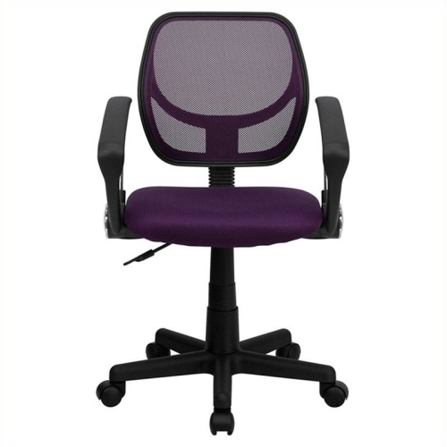 Mid-Back Purple Mesh Task Chair and Computer Chair with Arms [WA-3074-PUR-A-GG]