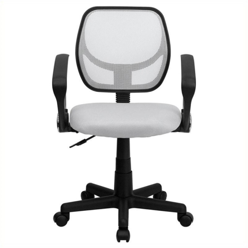 Mid-Back White Mesh Task Chair and Computer Chair with Arms [WA-3074-WHT-A-GG]
