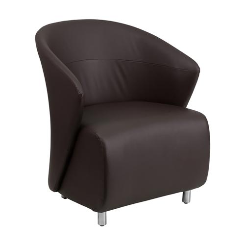 Dark Brown Leather Reception Chair [ZB-2-GG]