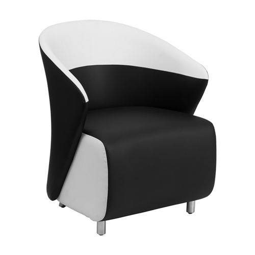 Black Leather Reception Chair with White Detailing [ZB-7-GG]