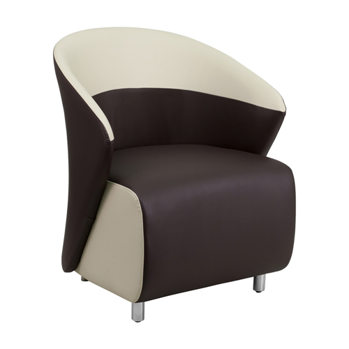 Dark Brown Leather Reception Chair with Beige Detailing [ZB-8-GG]