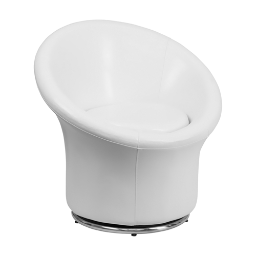 White Leather Swivel Reception Chair [ZB-3975-WH-GG]