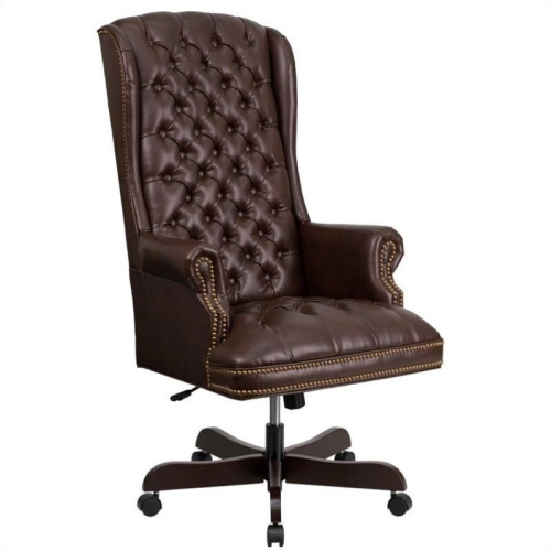 online retailer 8a1e8 bca72 High Back Traditional Tufted Brown Leather Executive Office Chair  [CI-360-BRN-GG]