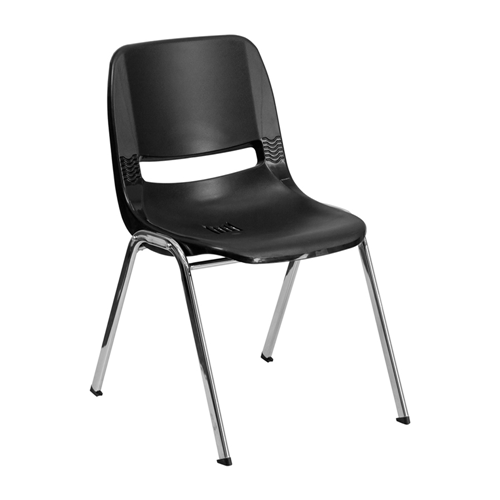 "HERCULES Series 661 lb Capacity Black Ergonomic Shell Stack Chair with Chrome Frame and 16"" Seat Height [RUT-16-BK-CHR-GG]"