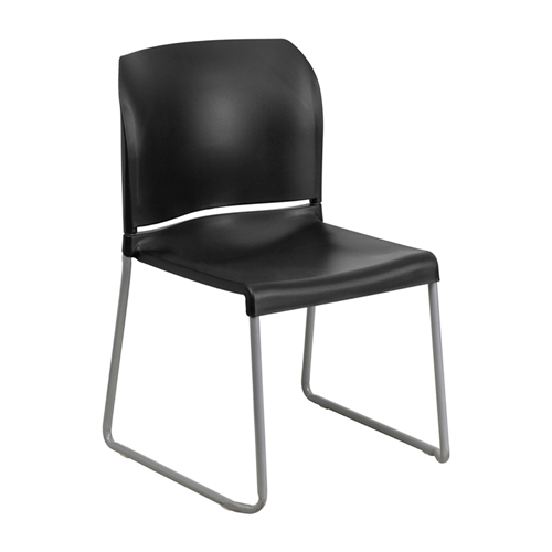 HERCULES Series 880 lb Capacity Black Full Back Contoured Stack Chair with Sled Base [RUT-238A-BK-GG]