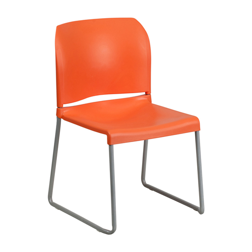 HERCULES Series 880 lb Capacity Orange Full Back Contoured Stack Chair with Sled Base [RUT-238A-OR-GG]