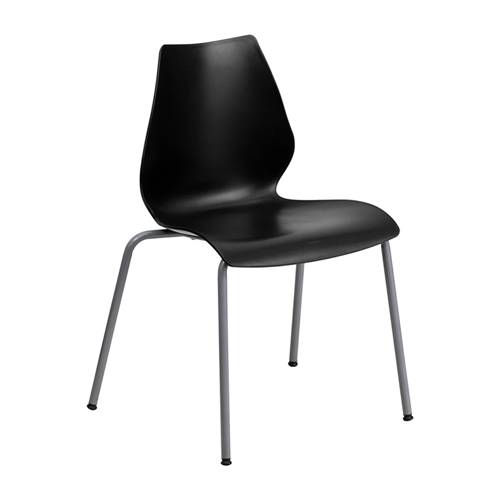 HERCULES Series 770 lb Capacity Black Stack Chair with Lumbar Support and Silver Frame [RUT-288-BK-GG]