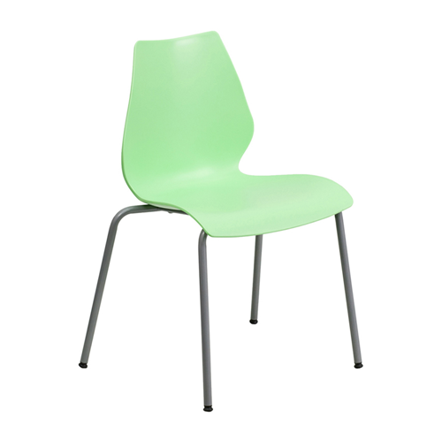 HERCULES Series 770 lb Capacity Green Stack Chair with Lumbar Support and Silver Frame [RUT-288-GREEN-GG]