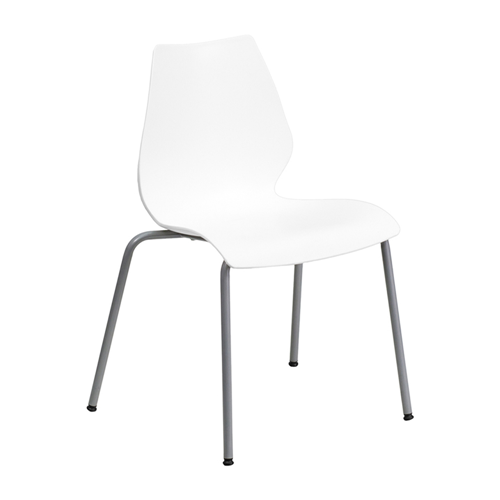 HERCULES Series 770 lb Capacity White Stack Chair with Lumbar Support and Silver Frame [RUT-288-WHITE-GG]