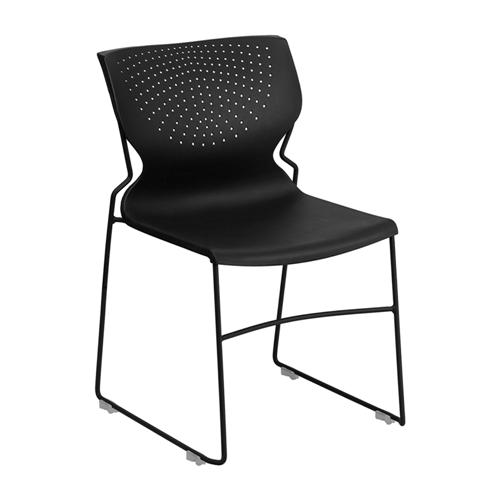 HERCULES Series 661 lb Capacity Black Full Back Stack Chair with Black Frame [RUT-438-BK-GG]