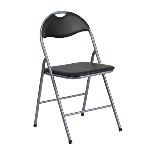 HERCULES Series Black Vinyl Metal Folding Chair with Carrying Handle [YB-YJ806H-GG]