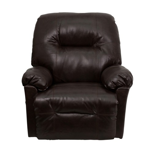 Offex Contemporary Bentley Leather Chaise Rocker Recliner - Brown