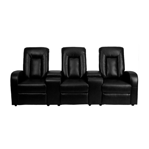 Eclipse Series 3-Seat Motorized,Push Button & Automated Reclining Black Leather Theater Seating Unit with Cup Holders