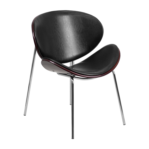 Mahogany Bentwood Leisure Reception Chair with Black Leather Upholstery [SD-2268A-7-GG]