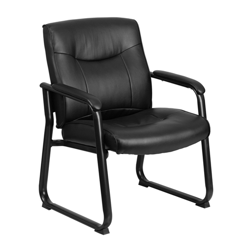 HERCULES Series Big and Tall 500 lb. Capacity Black Leather Executive Side Chair with Sled Base [GO-2136-GG]
