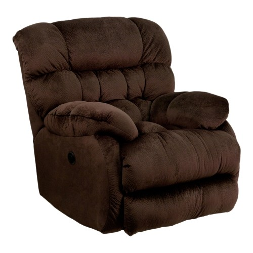 Contemporary Sharpei Chocolate Microfiber Power Recliner with Push Button [AM-P9460-5980-GG]