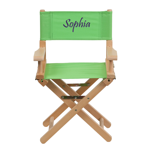 Embroidered Kid Size Directors Chair in Green