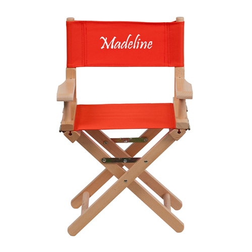 Embroidered Kid Size Directors Chair in Red