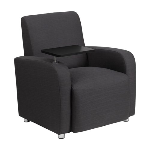 Gray Fabric Guest Chair with Tablet Arm and Chrome Legs [BT-8217-GY-GG]