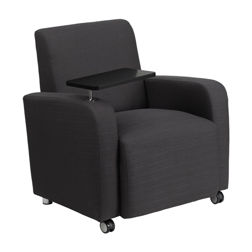 Gray Fabric Guest Chair with Tablet Arm and Front Wheel Casters [BT-8217-GY-CS-GG]