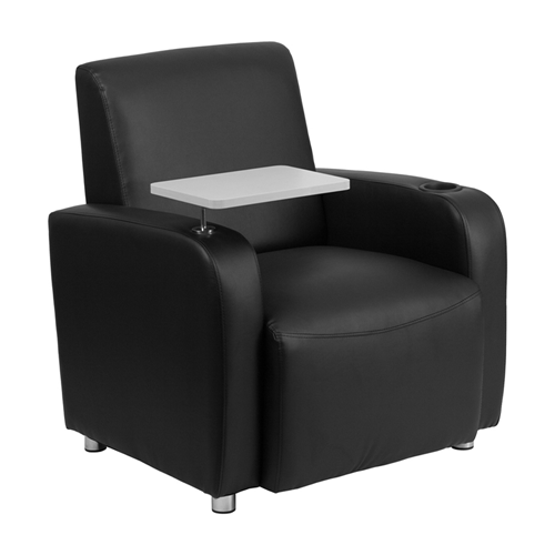 Black Leather Guest Chair with Tablet Arm, Chrome Legs and Cup Holder [BT-8217-BK-GG]