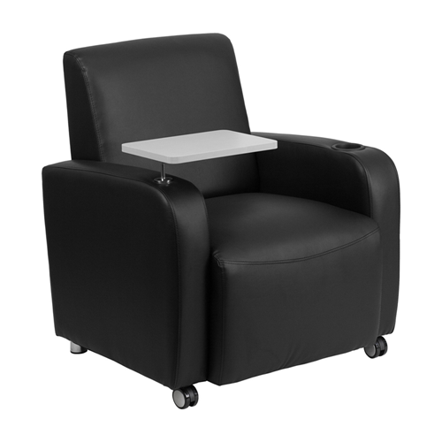 Black Leather Guest Chair with Tablet Arm, Front Wheel Casters and Cup Holder [BT-8217-BK-CS-GG]