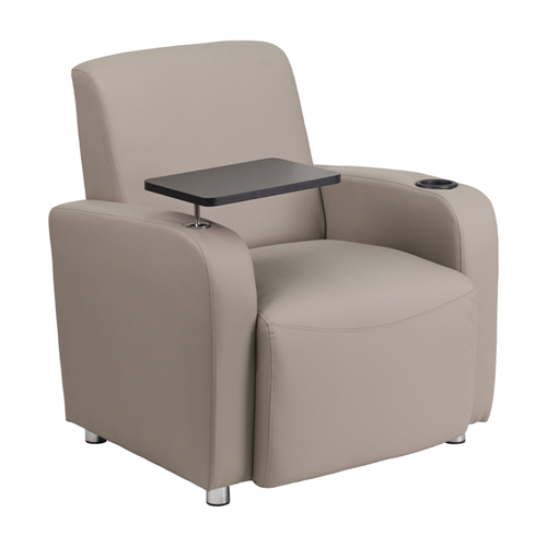 Gray Leather Guest Chair with Tablet Arm, Chrome Legs and Cup Holder [BT-8217-GV-GG]