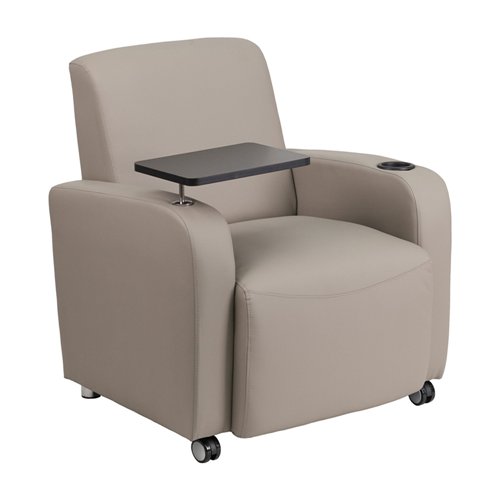 Gray Leather Guest Chair with Tablet Arm, Front Wheel Casters and Cup Holder [BT-8217-GV-CS-GG]