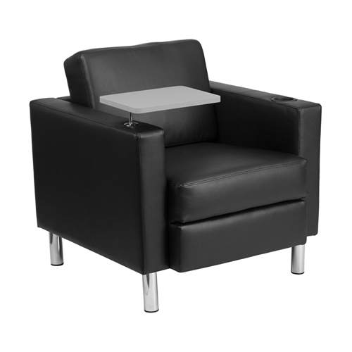 Black Leather Guest Chair with Tablet Arm, Tall Chrome Legs and Cup Holder [BT-8219-BK-GG]