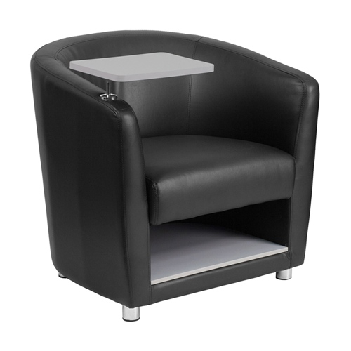 Black Leather Guest Chair with Tablet Arm, Chrome Legs and Under Seat Storage [BT-8220-BK-GG]