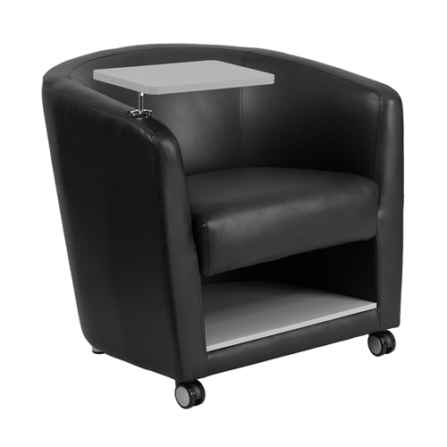 Black Leather Guest Chair with Tablet Arm, Front Wheel Casters and Under Seat Storage [BT-8220-BK-CS-GG]