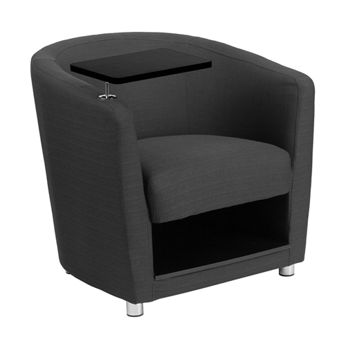 Charcoal Gray Fabric Guest Chair with Tablet Arm, Chrome Legs and Under Seat Storage [BT-8220-GY-GG]