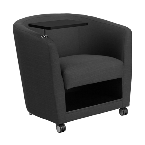 Charcoal Gray Fabric Guest Chair with Tablet Arm, Front Wheel Casters and Under Seat Storage [BT-8220-GY-CS-GG]