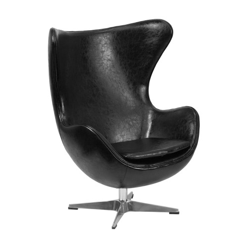 Black Leather Egg Chair with Tilt-Lock Mechanism [ZB-9-GG]