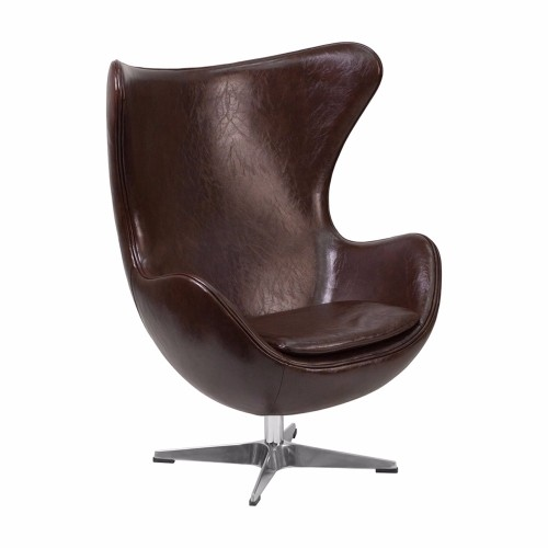 Brown Leather Egg Chair with Tilt-Lock Mechanism [ZB-11-GG]