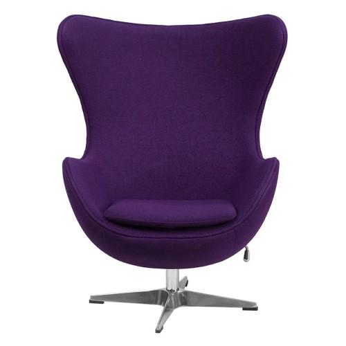 Purple Wool Fabric Egg Chair with Tilt-Lock Mechanism [ZB-16-GG]