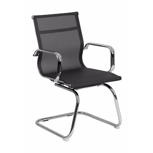 Black Mesh Side Chair With Chrome Sled Base [BT-2768L-GG]