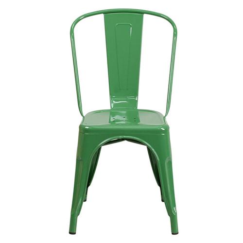 Green Metal Indoor-Outdoor Stackable Chair [CH-31230-GN-GG]