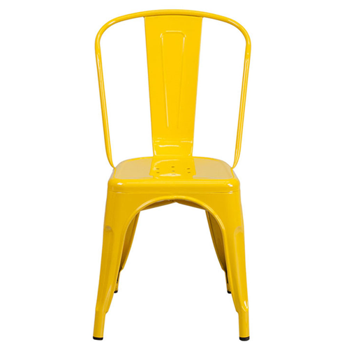 Yellow Metal Indoor-Outdoor Stackable Chair [CH-31230-YL-GG]